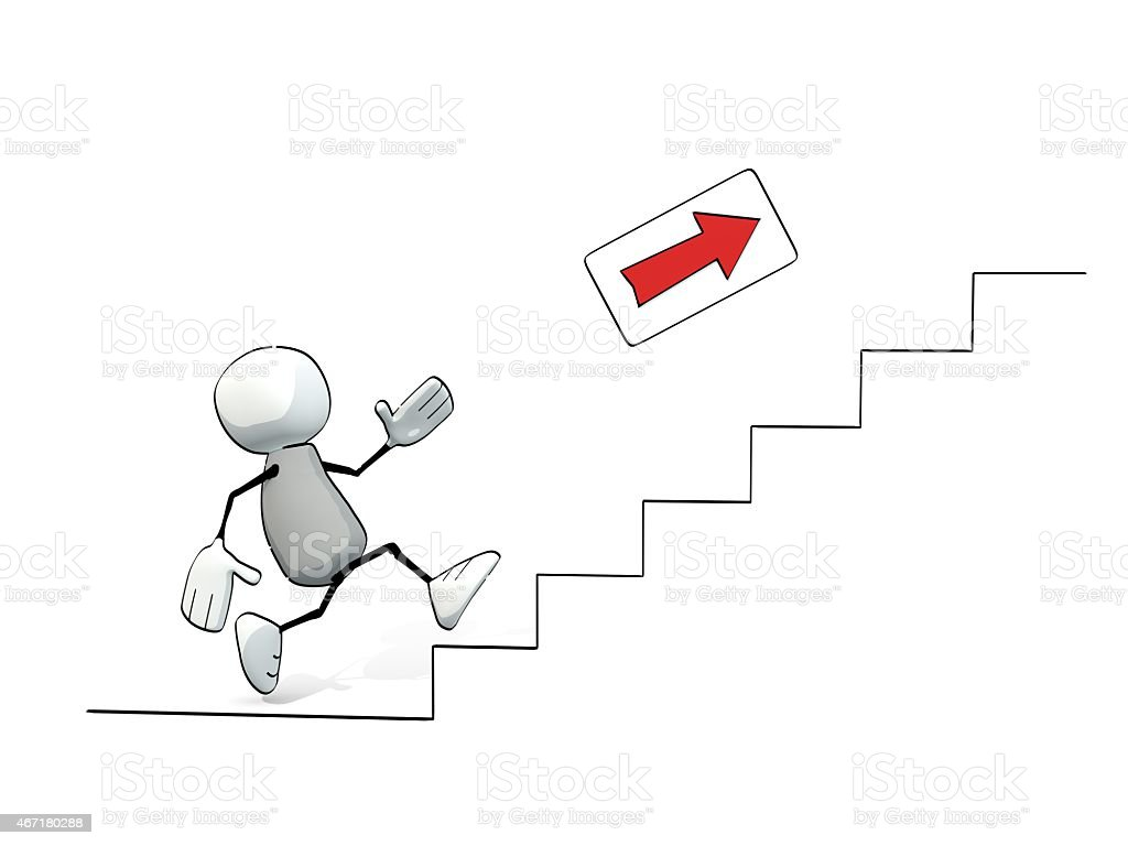 little sketchy man climbing up the stairs stock photo