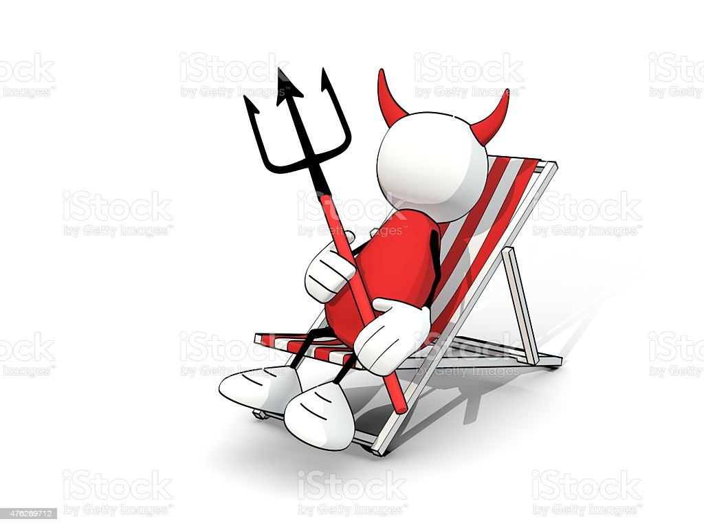 little sketchy man - devil in a deck chair stock photo