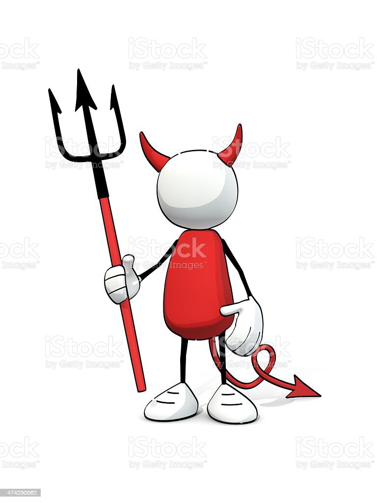 little sketchy man - devil with trident (1) stock photo