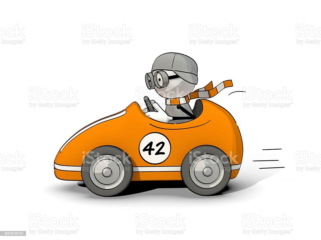 little sketchy man driving in an orange racing car stock photo