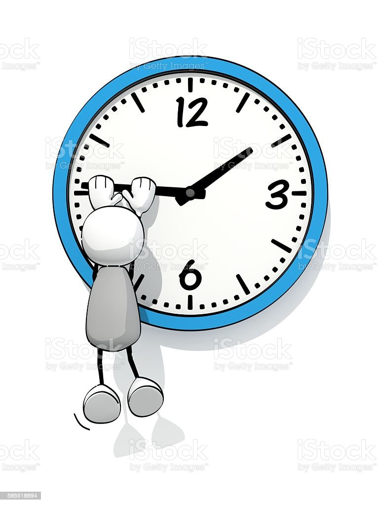 little sketchy man hanging on minute hand of a clock stock photo