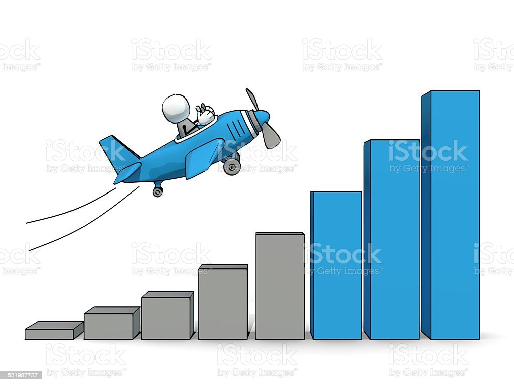 little sketchy man in plane flying up an increasing bar-chart stock photo