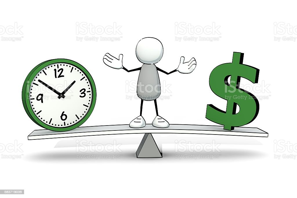 little sketchy man on rocker with clock and Dollar symbol stock photo