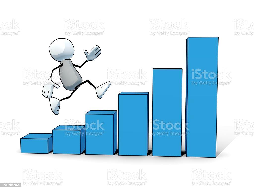 little sketchy man running up a bar chart stock photo