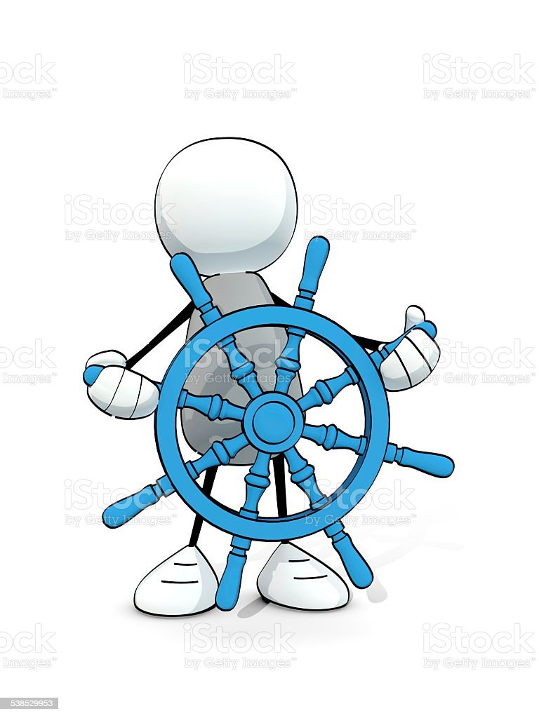 little sketchy man with blue nautical steering wheel stock photo