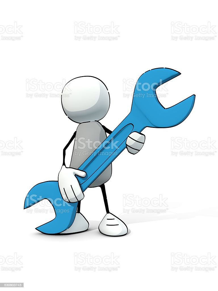 little sketchy man with blue wrench stock photo