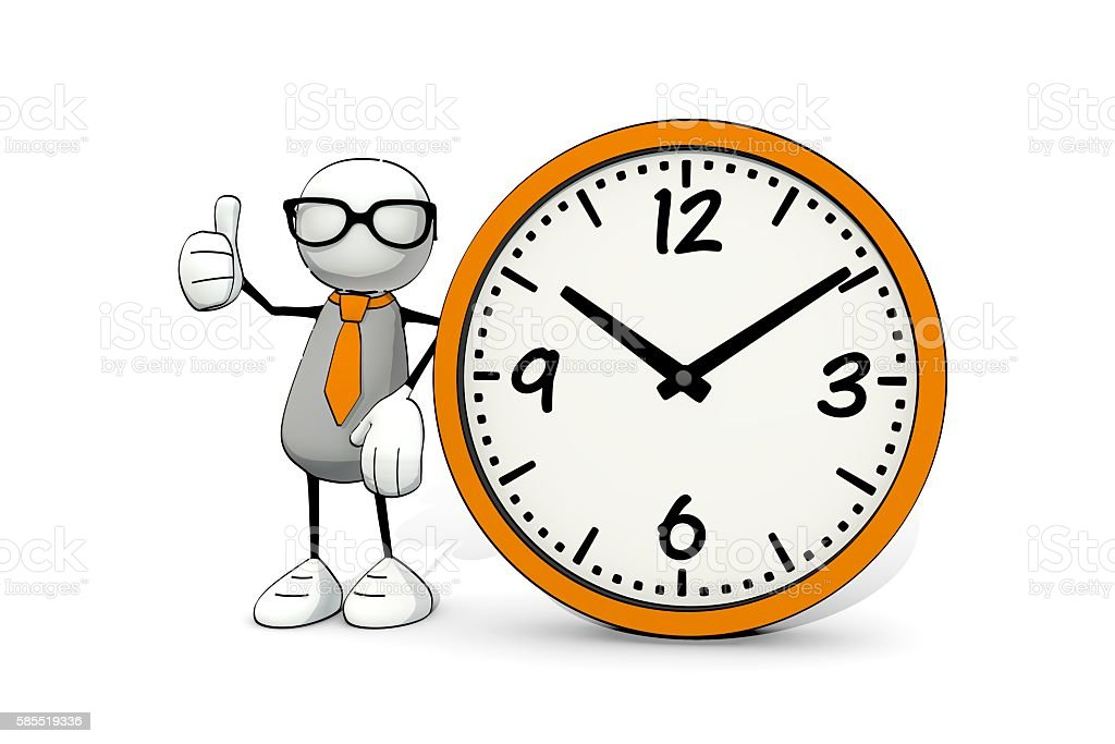 little sketchy man with glasses and clock - thumb up stock photo