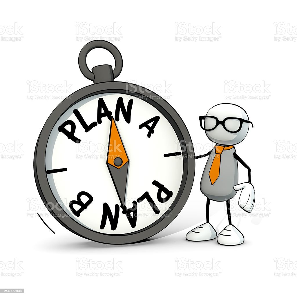 little sketchy man with glasses and compass - Plan A/B stock photo