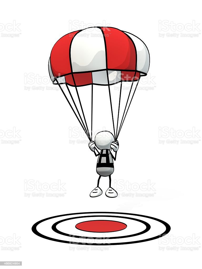 little sketchy man with parachute precision landing on aim point stock photo