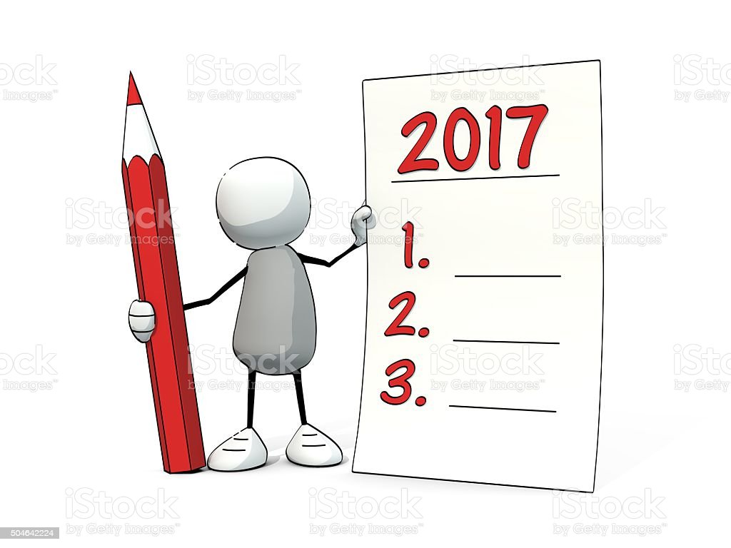 little sketchy man with pencil making good resolutions for 2017 stock photo