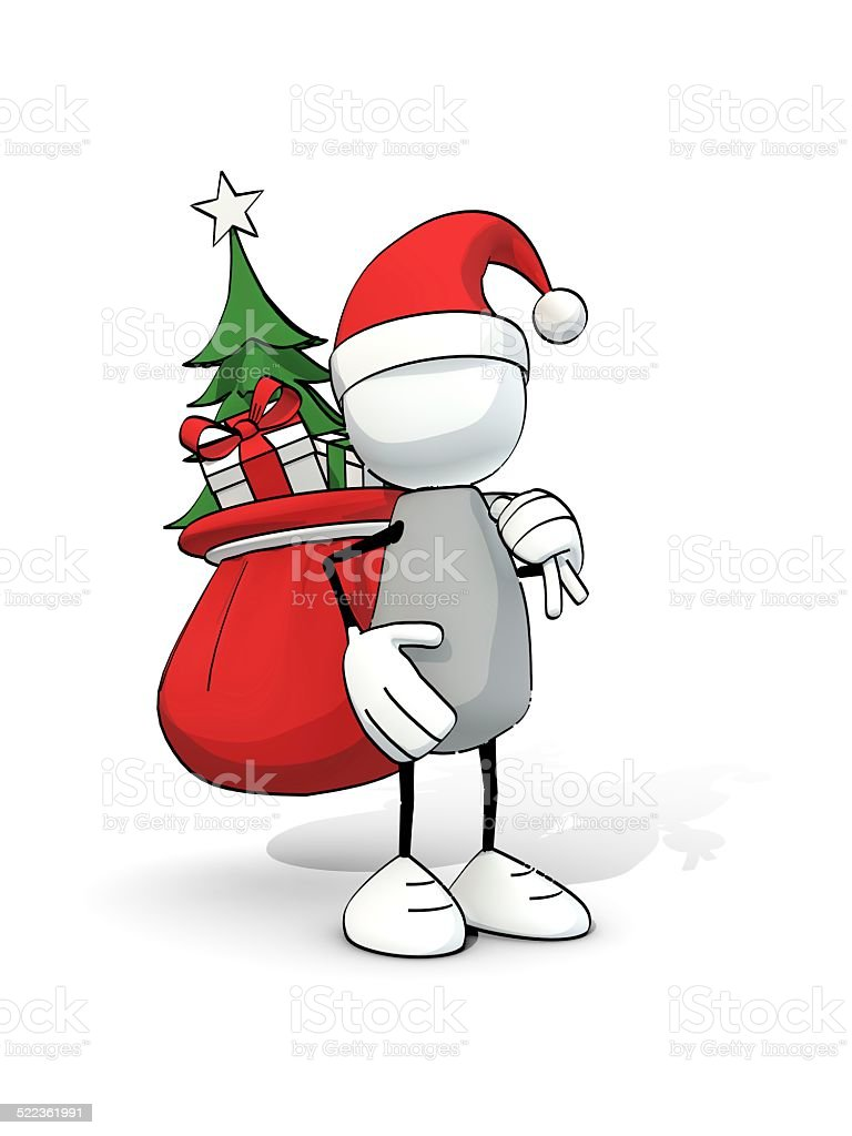 little sketchy man with santa hat carrying bag of presents stock photo