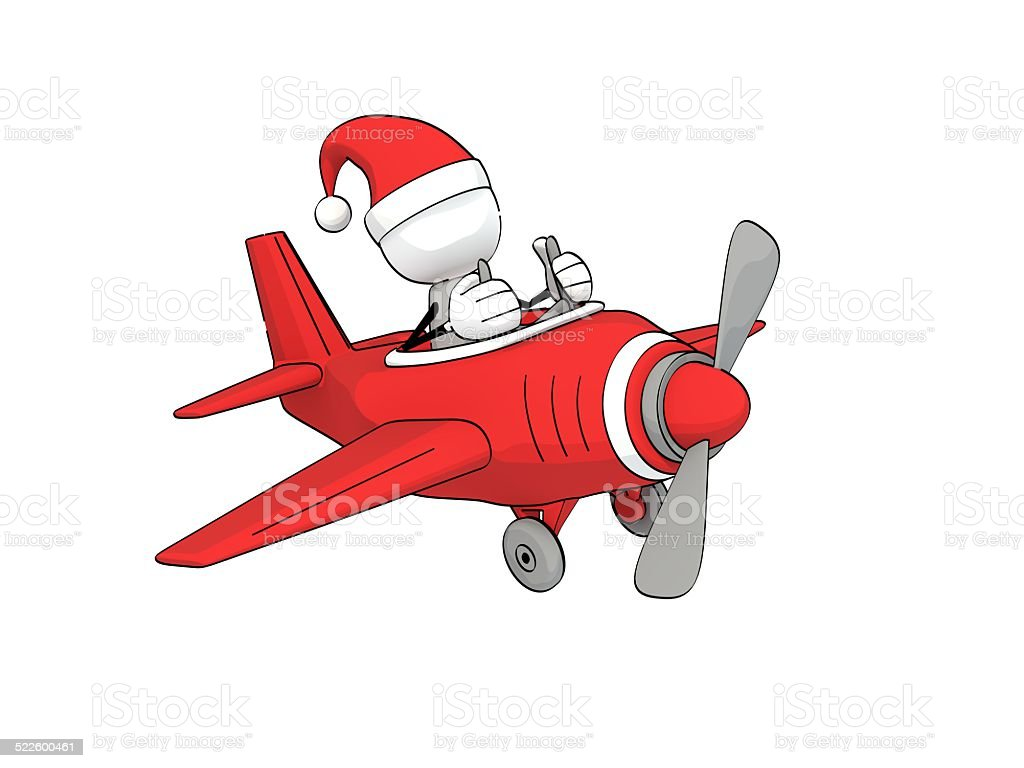 little sketchy man with santa hat flying a red plane stock photo