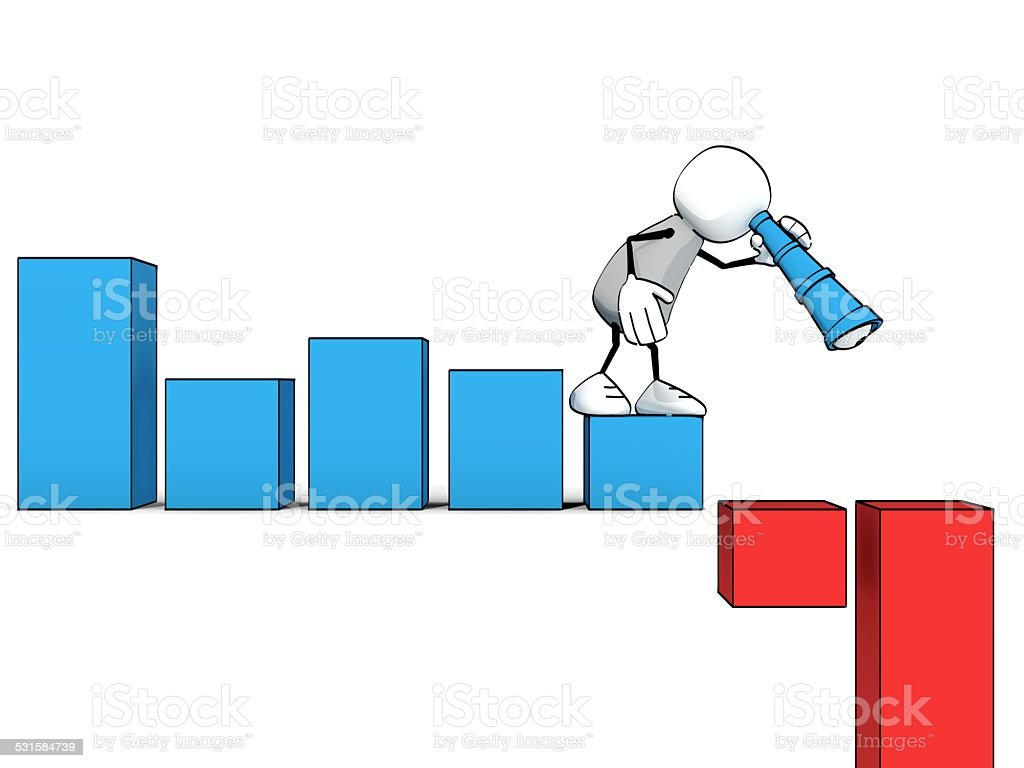 little sketchy man with spyglass looking down a negative chart stock photo
