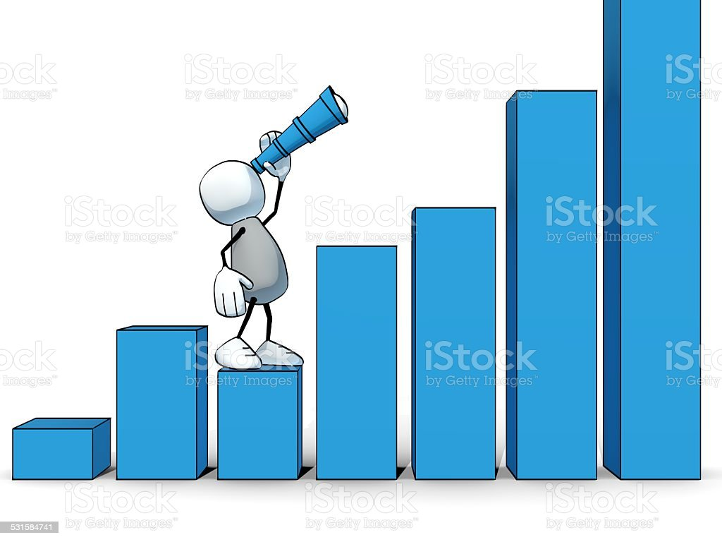 little sketchy man with spyglass looking up positive bar chart stock photo