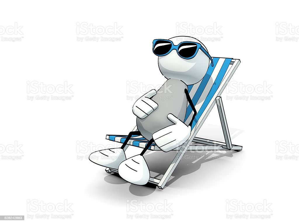 little sketchy man with sunglasses in a deck chair stock photo