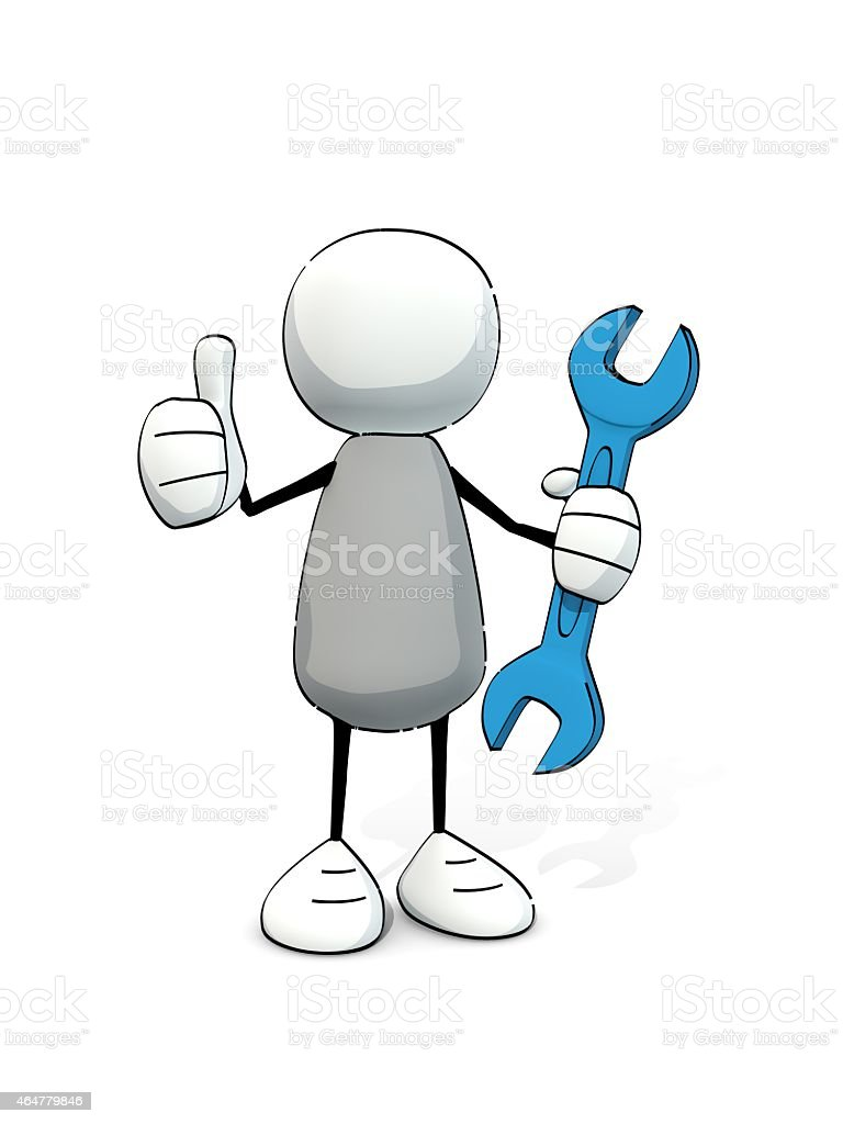 little sketchy man with wrench sticking the thumb in the air stock photo