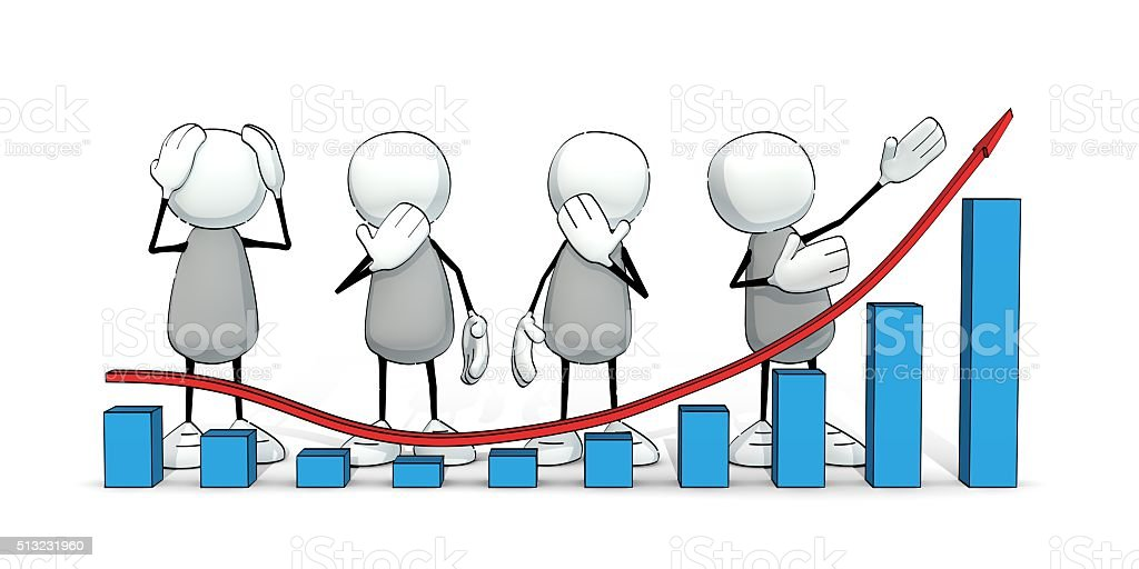 little sketchy men analyzing a trend chart stock photo
