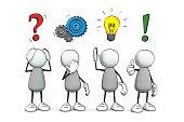 little sketchy men - colored problem-solution concept