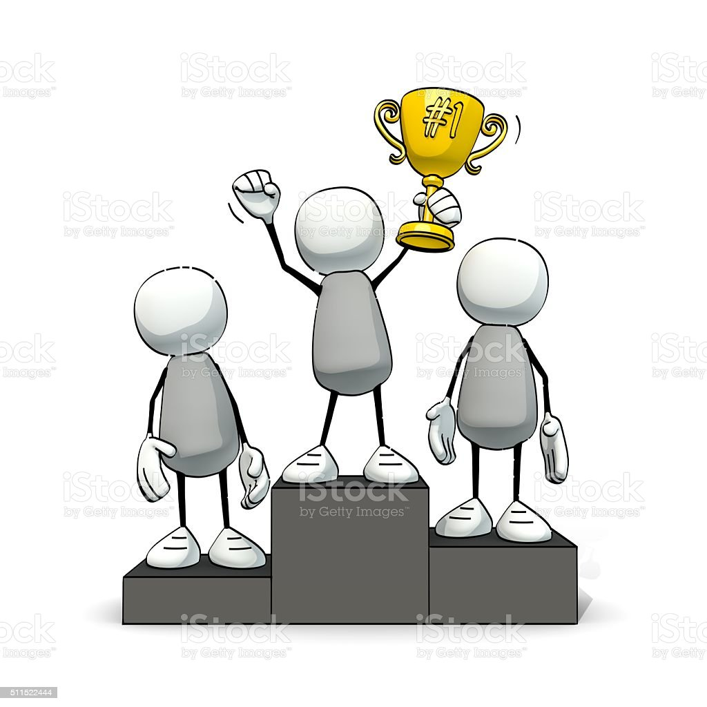 little sketchy men on winner's pedestal with golden cup stock photo