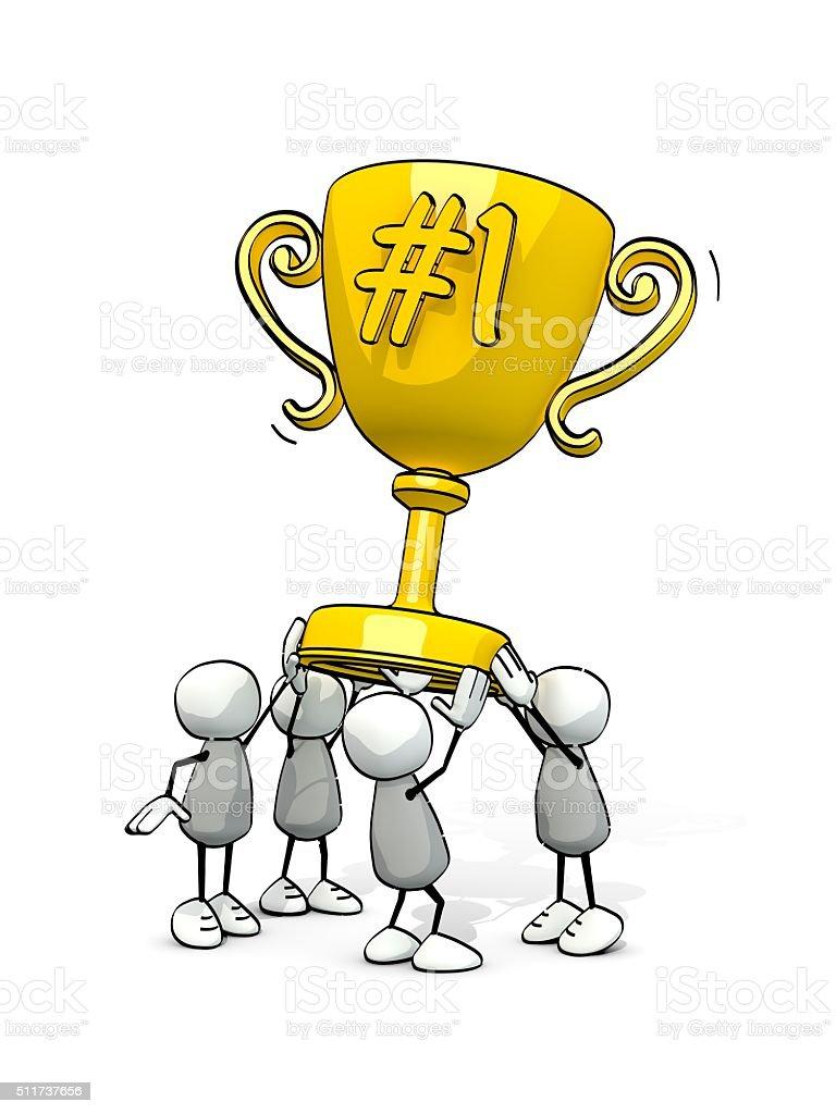 little sketchy men with golden winner cup stock photo