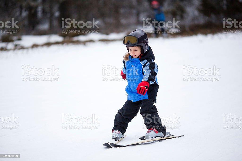 Little skier stock photo