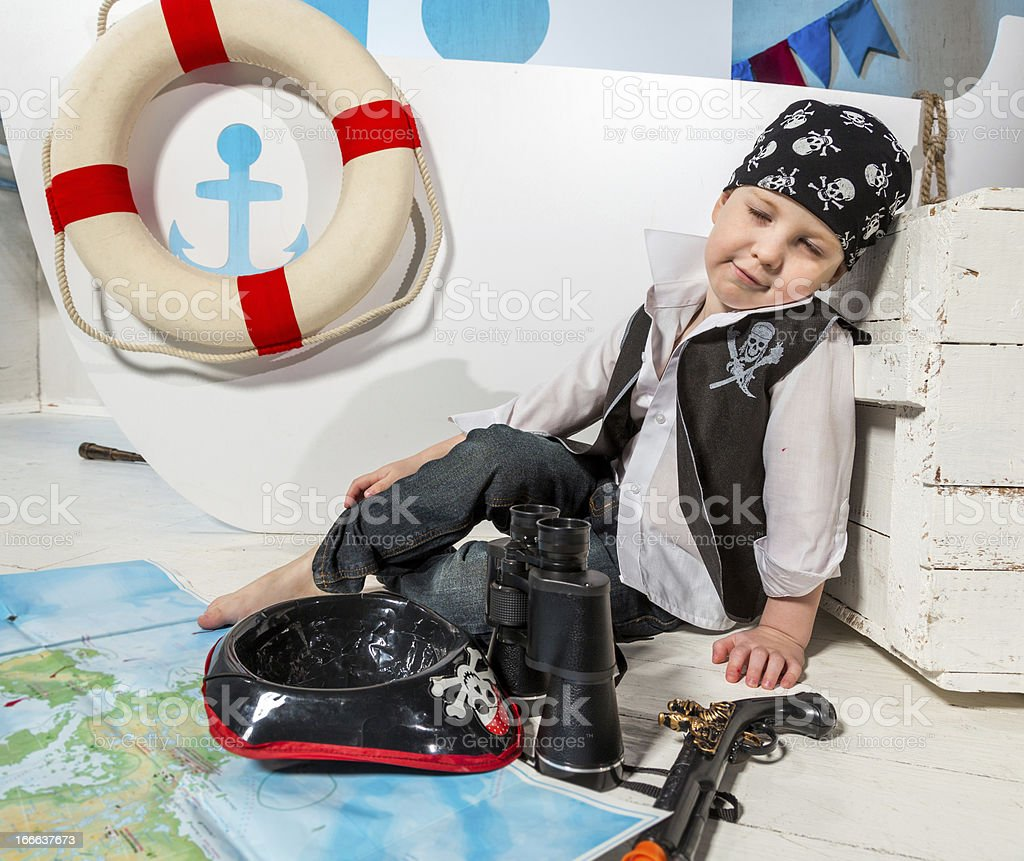 Little sleeping pirate royalty-free stock photo