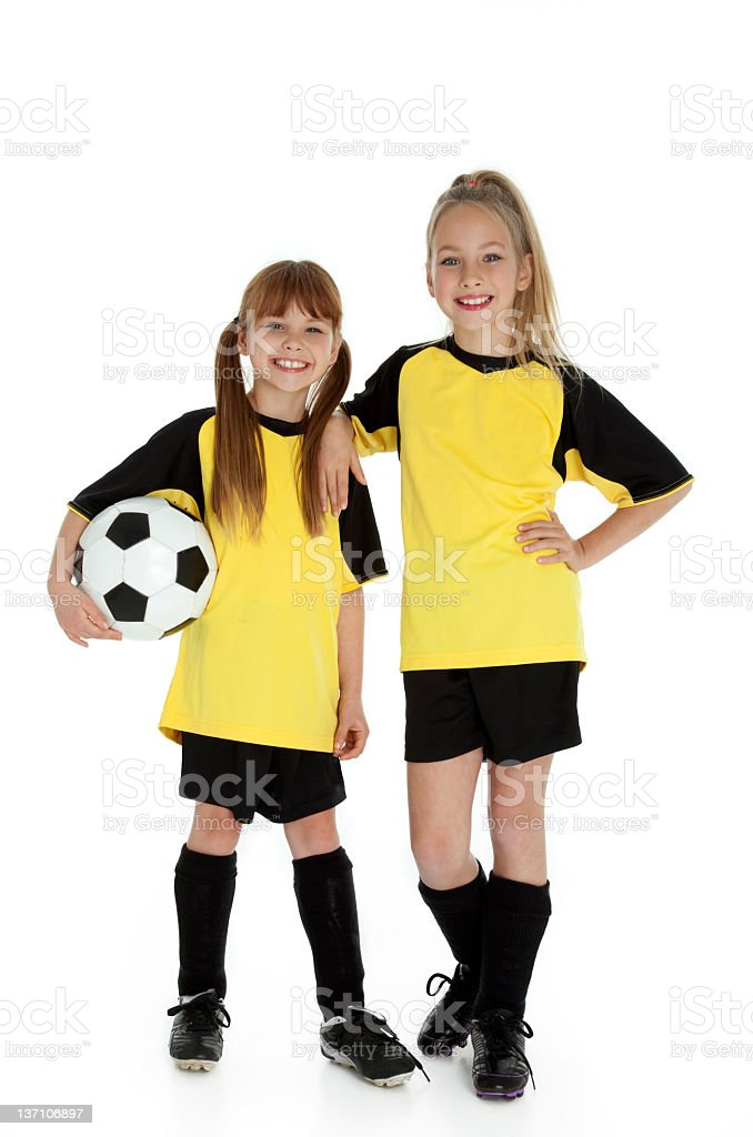 Little Soccer Sisters royalty-free stock photo