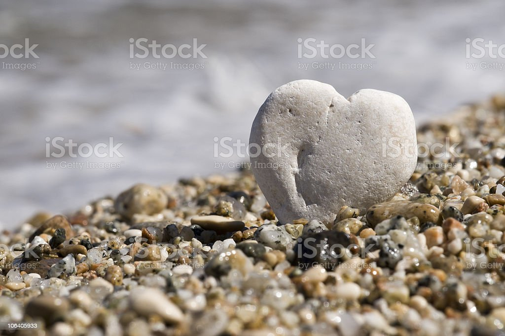 little stone heart on a beach royalty-free stock photo