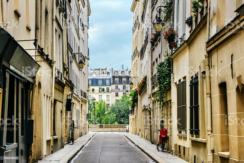 little street in the Ile Saint Louis in Paris, France stock photo