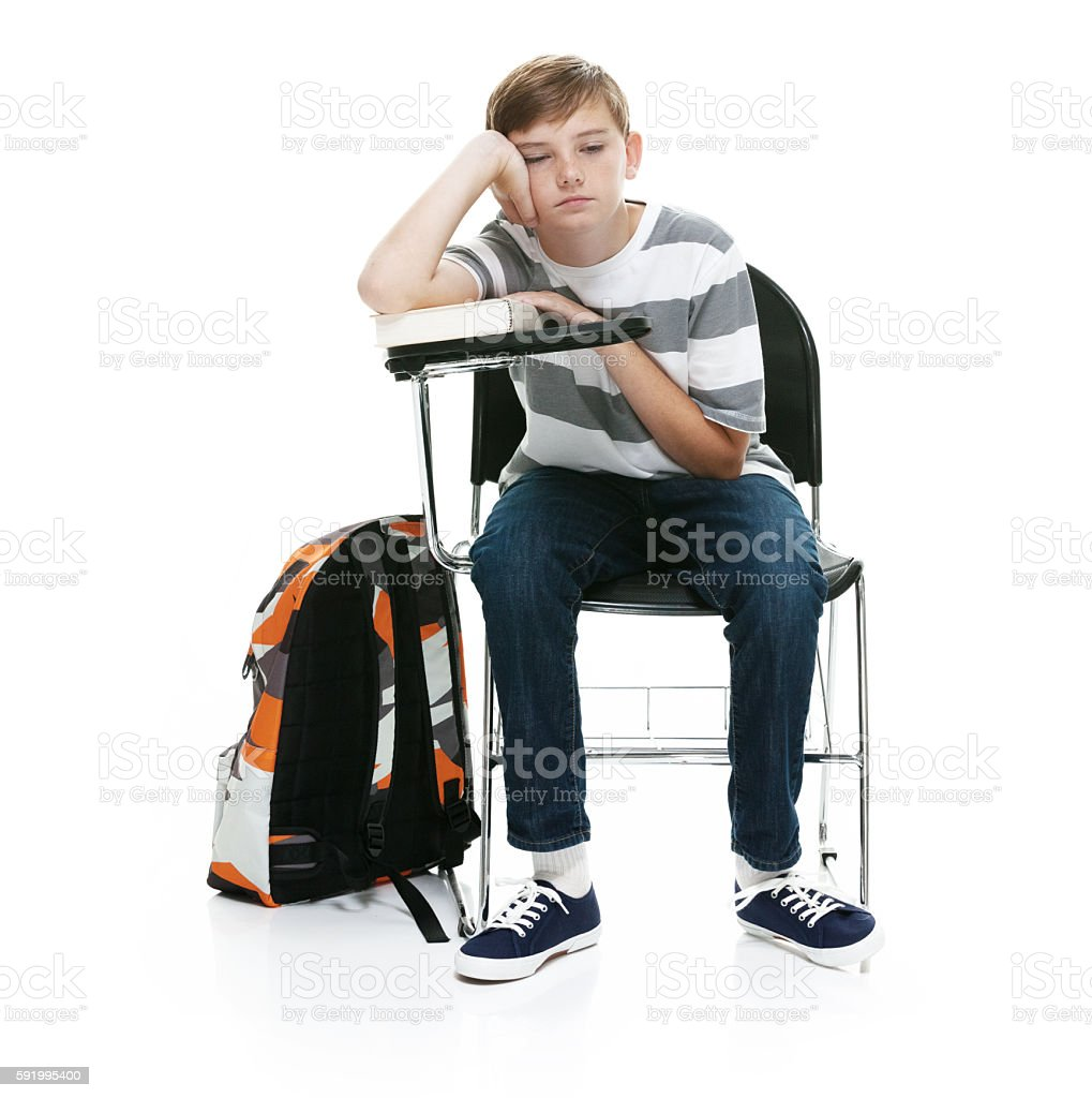 Little student being tired stock photo