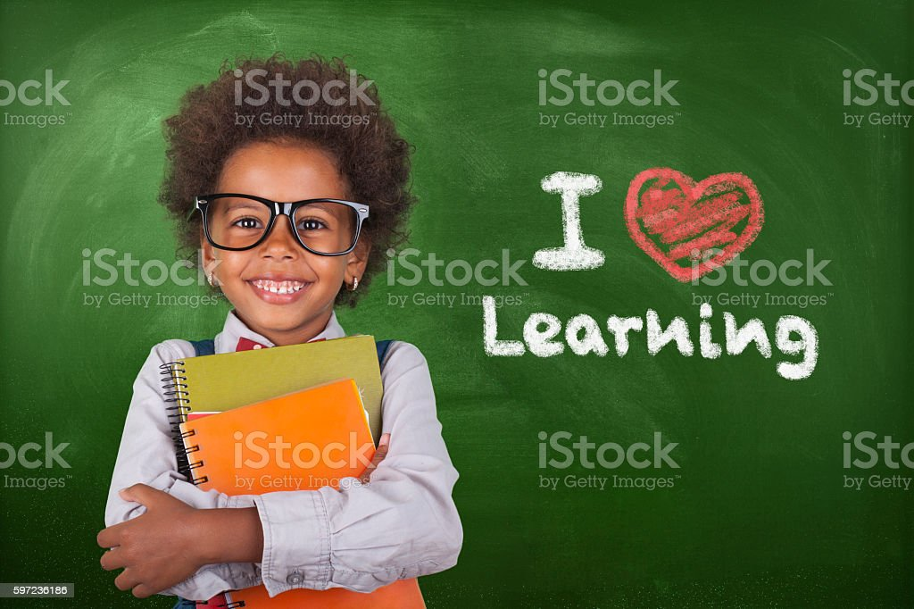 Little student girl stock photo