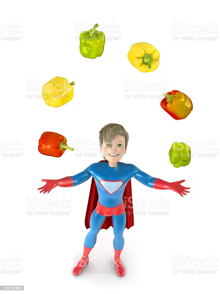 Little superhero and fruits vector art illustration
