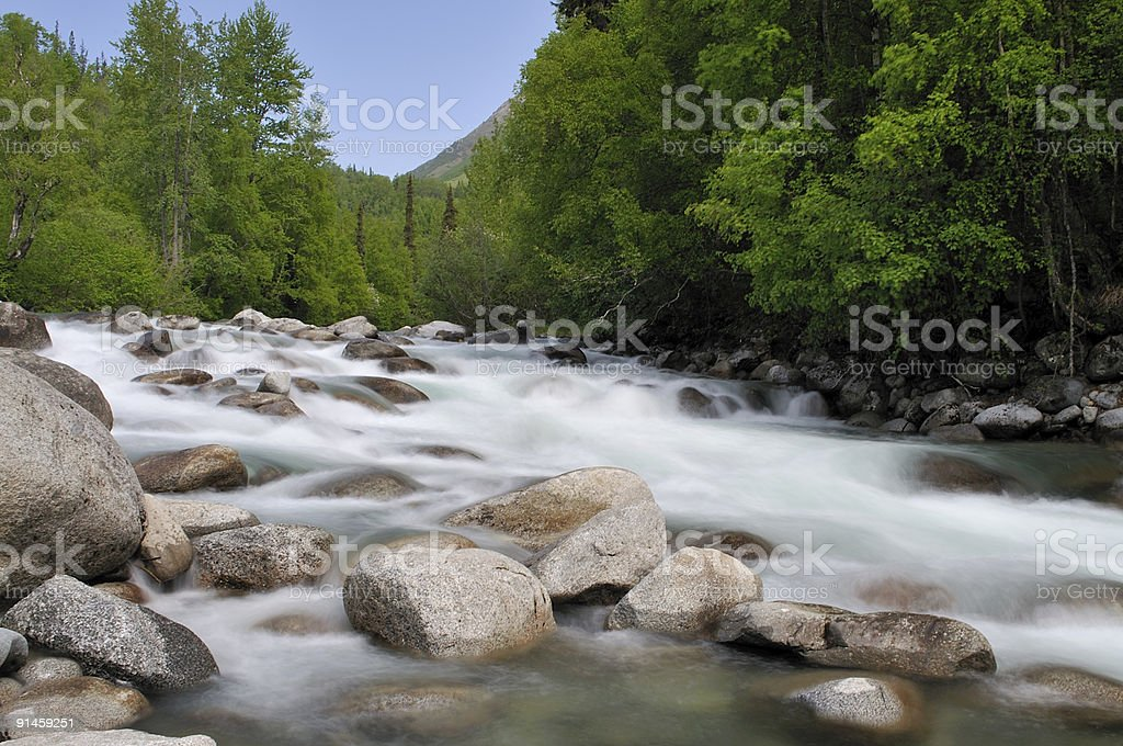 Little Susitna River Rapids stock photo