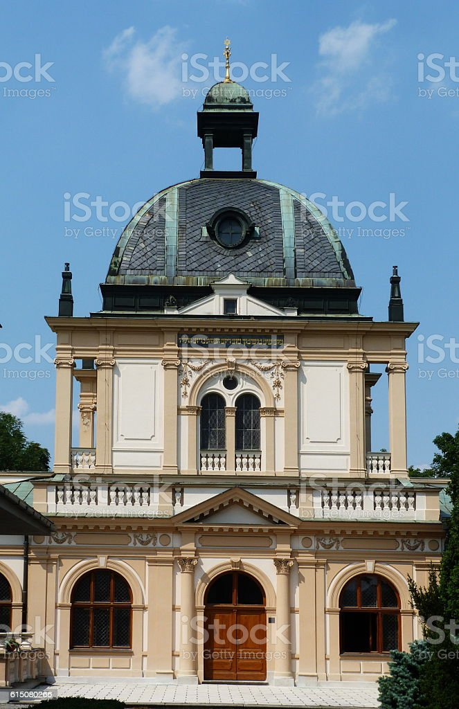 Little synagogue in the new judaic cemetery of Prague stock photo
