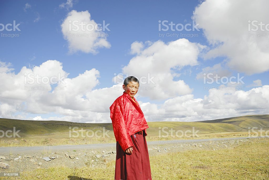 Little Tibetan Monk stock photo