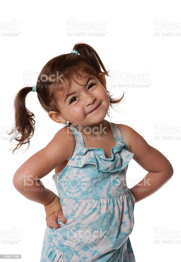Little toddler girl attitude stock photo