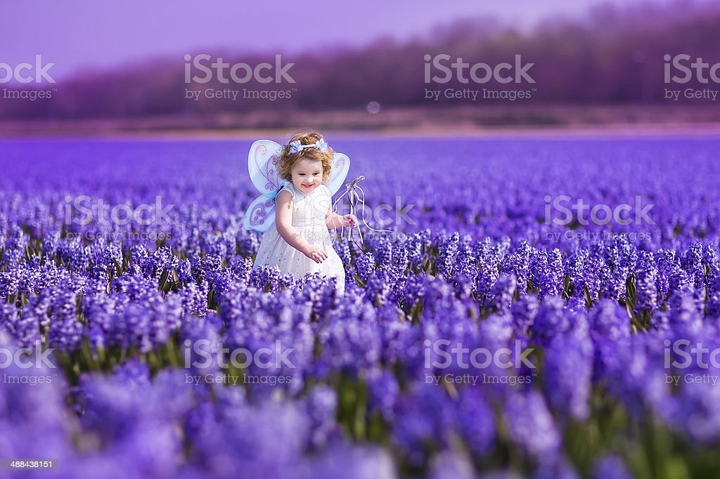 Little toddler girl in fairy costume playing on flower field stock photo