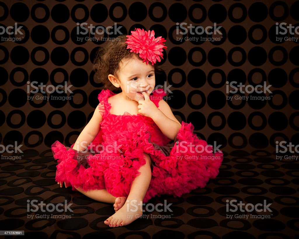 Little Toddler Girl in Frilly Dress royalty-free stock photo