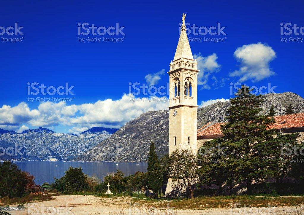 Little town at the coast of Boka Kotor bay (Boka Kotorska), Montenegro, Europe. stock photo