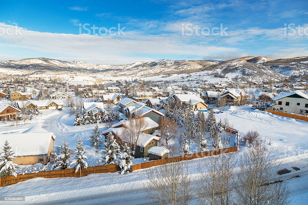 Little town in Colorado stock photo