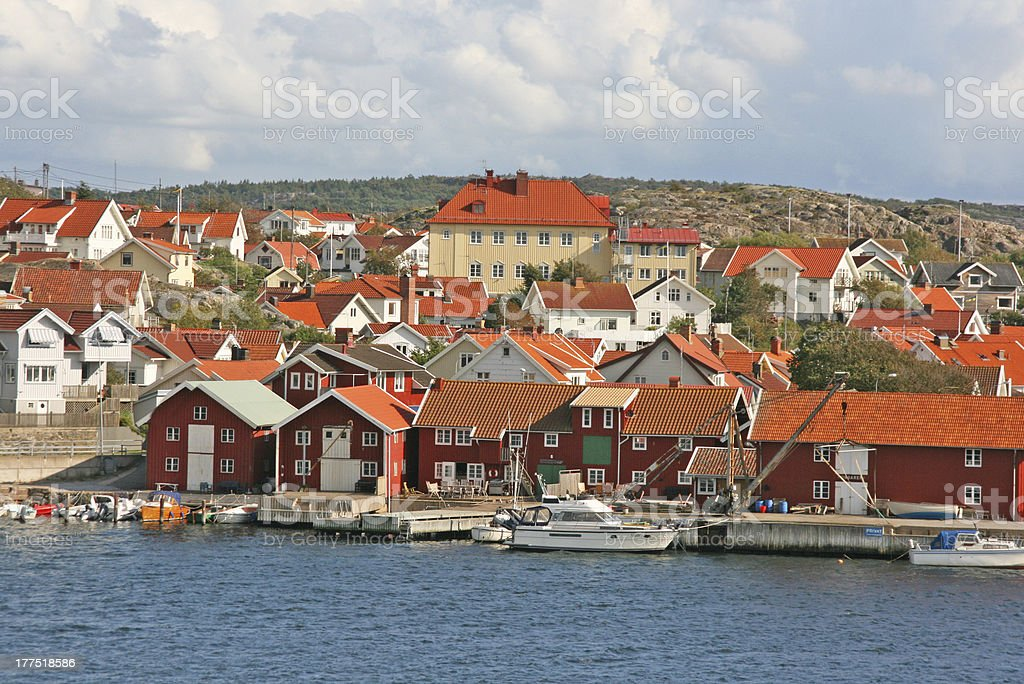 little town of sweden with small red wooden houses, skarhamm royalty-free stock photo