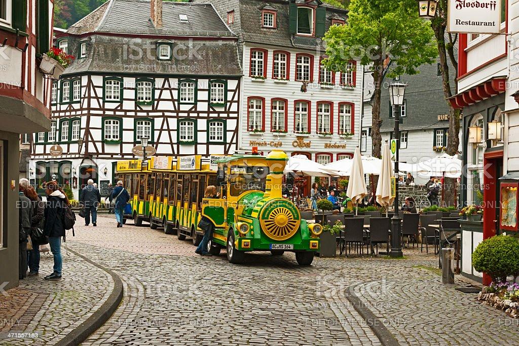 Little train in Monschau stock photo