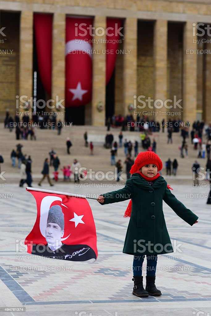 Little Turkish girl in Anitkabir stock photo