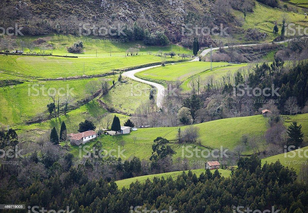 Little valley in Asturias, Spain. stock photo