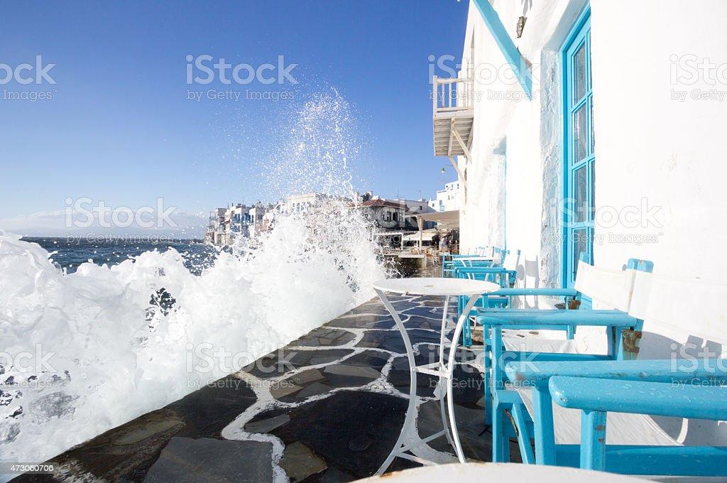 Little Venice in Mykonos Town, Greece stock photo