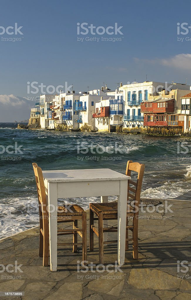 Little Venice, Mykonos Island, Greece royalty-free stock photo