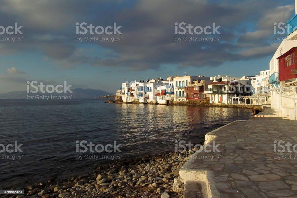 Little Venice of Mykonos stock photo