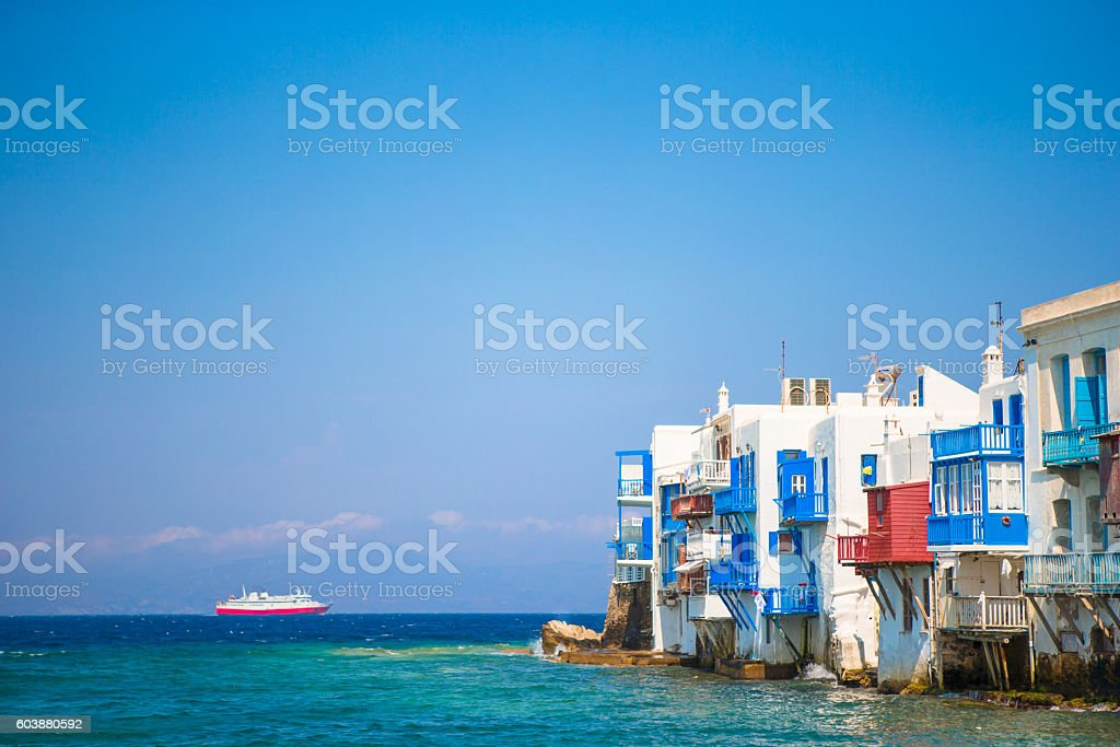 Little Venice the most popular attraction in Mykonos Island Greece, stock photo
