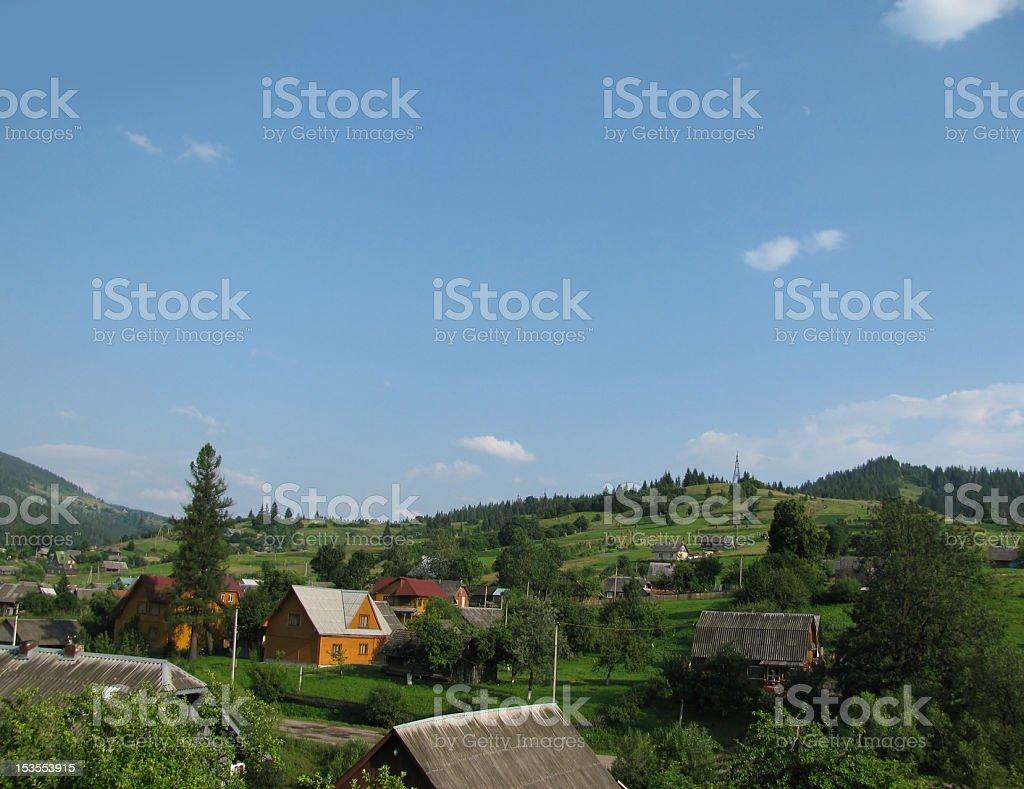 little village in mountains stock photo
