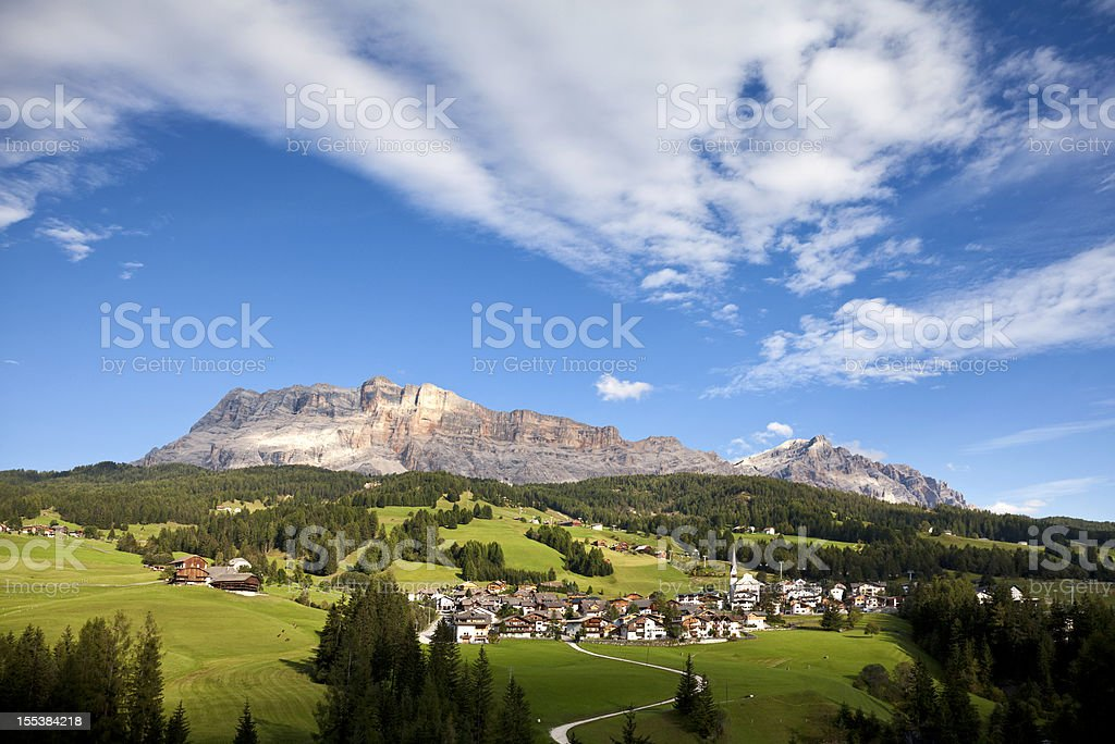 little village in the mountains - Dolomites Italy stock photo